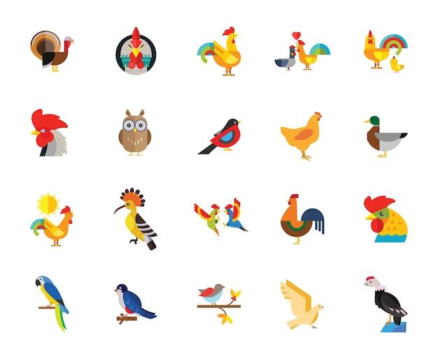Set di icone di uccelli Vettore gratuito
