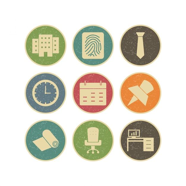 Set di icone di ufficio Vettore Premium