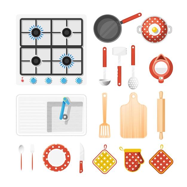 Set di icone di utensili da cucina Vettore gratuito