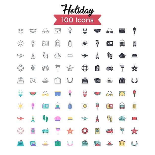 Set di icone di vacanza. Vettore Premium