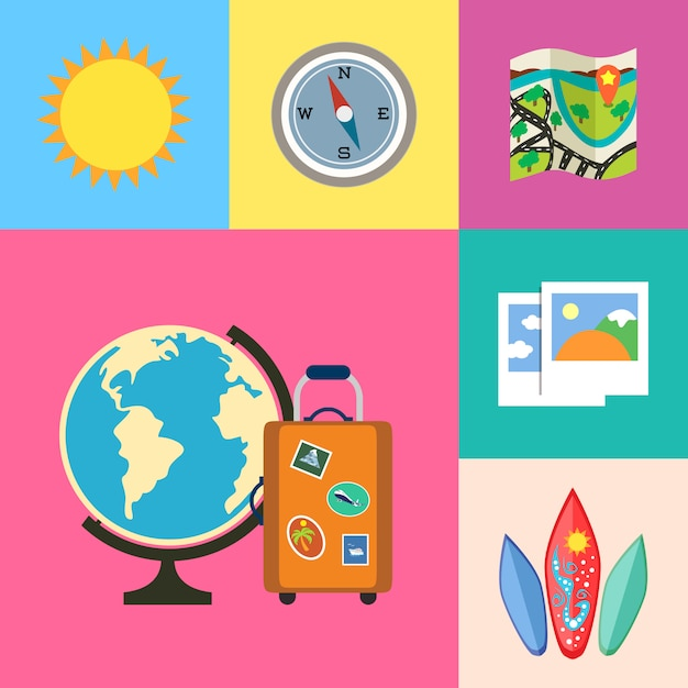 Set di icone di vacanze e viaggi Vettore gratuito