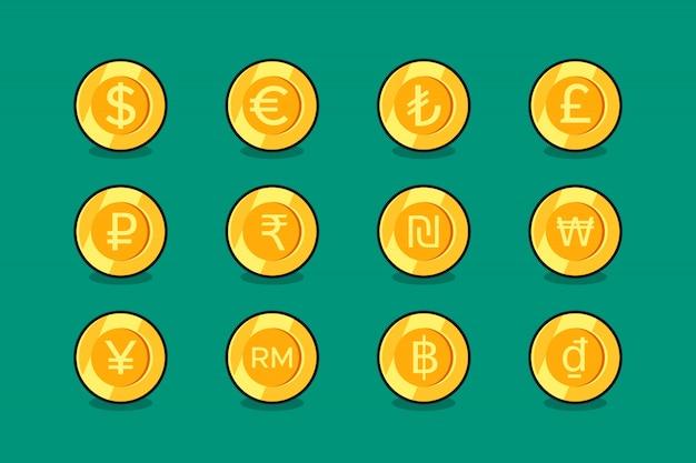 Set di icone di valuta Vettore Premium