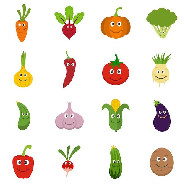 Set di icone di verdure sorridenti Vettore Premium