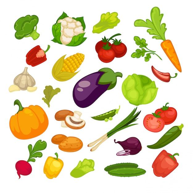 Set di icone di verdure Vettore Premium