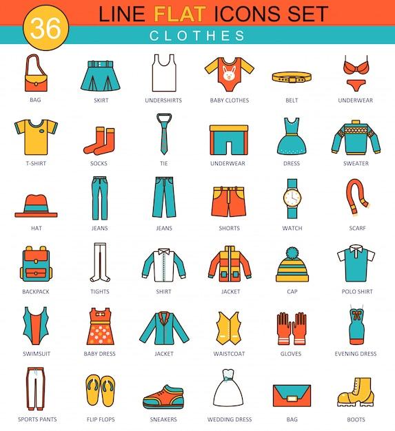 Set di icone di vestiti linea piatta Vettore Premium