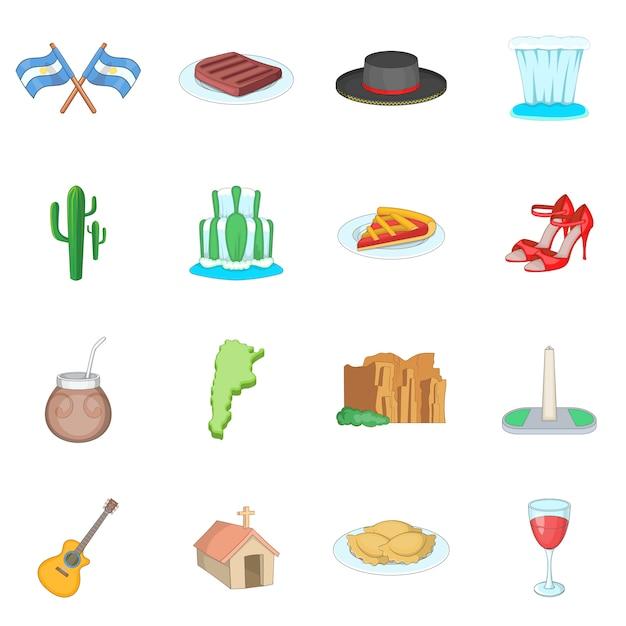 Set di icone di viaggio argentina Vettore Premium