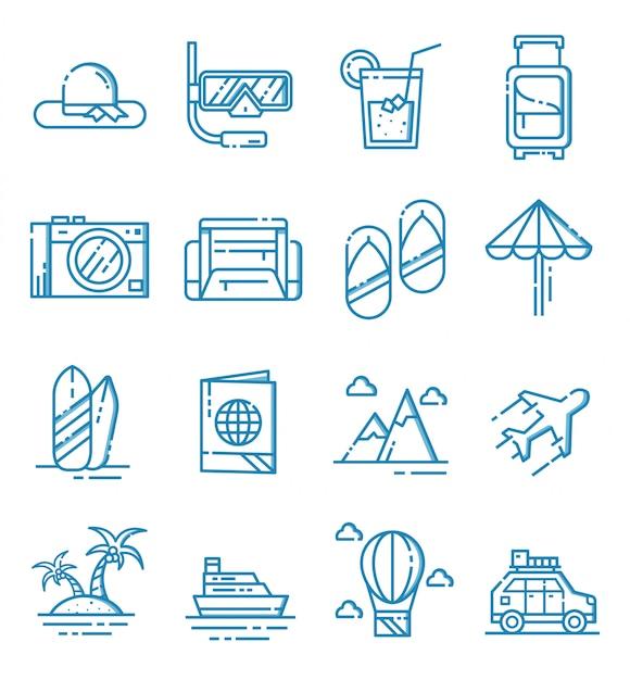 Set di icone di viaggio con struttura di stile Vettore Premium