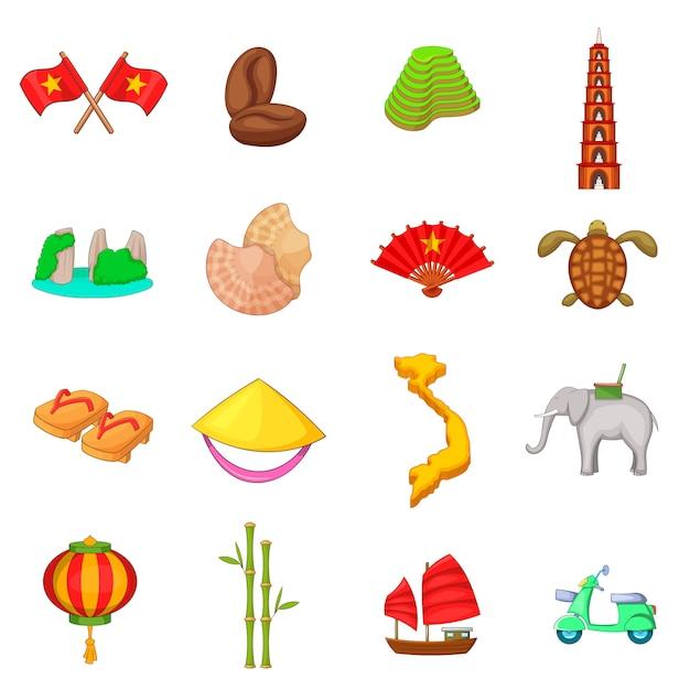 Set di icone di viaggio del vietnam Vettore Premium