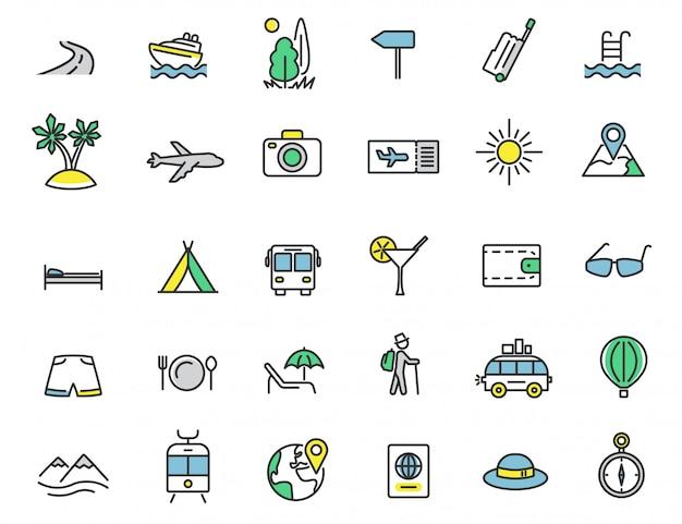 Set di icone di viaggio lineare icone del turismo Vettore Premium