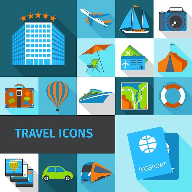 Set di icone di viaggio Vettore Premium