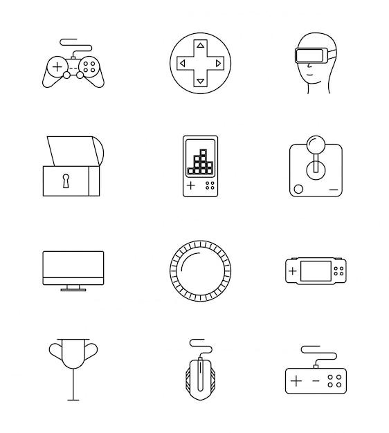 Set di icone di videogiochi di linea Vettore gratuito