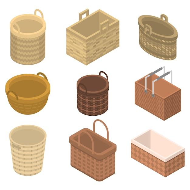 Set di icone di vimini, stile isometrico Vettore Premium
