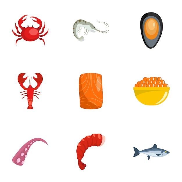 Set di icone di vita costiera, stile cartoon Vettore Premium