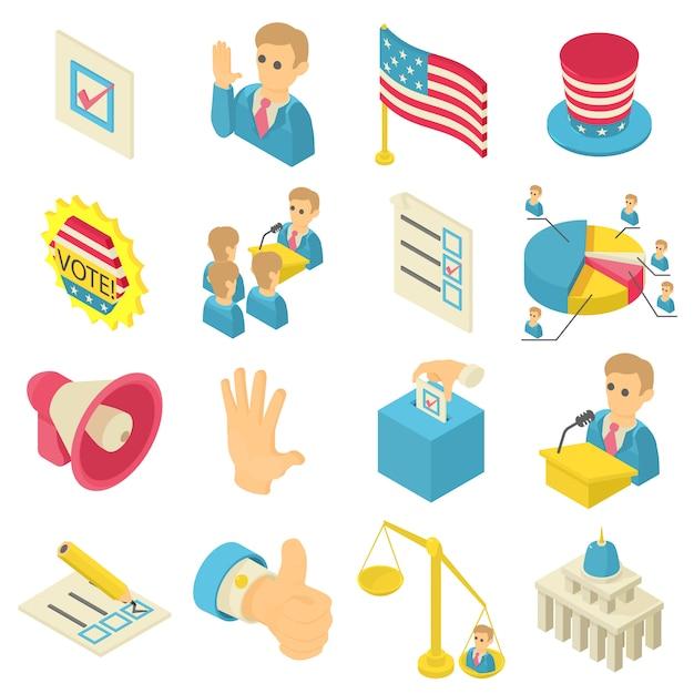 Set di icone di voto elettorale. un'illustrazione isometrica di 16 icone di voto di elezione ha messo le icone di vettore per il web Vettore Premium