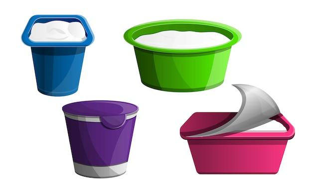 Set di icone di yogurt, stile cartoon Vettore Premium