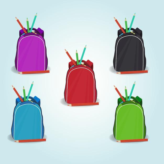 Set di icone di zainetto Vettore Premium
