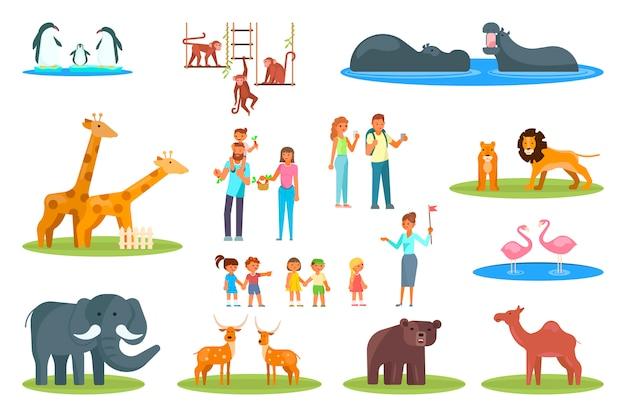 Set di icone di zoo. vector piatta illustrazione di animali da zoo e visitatori famiglie felici Vettore Premium