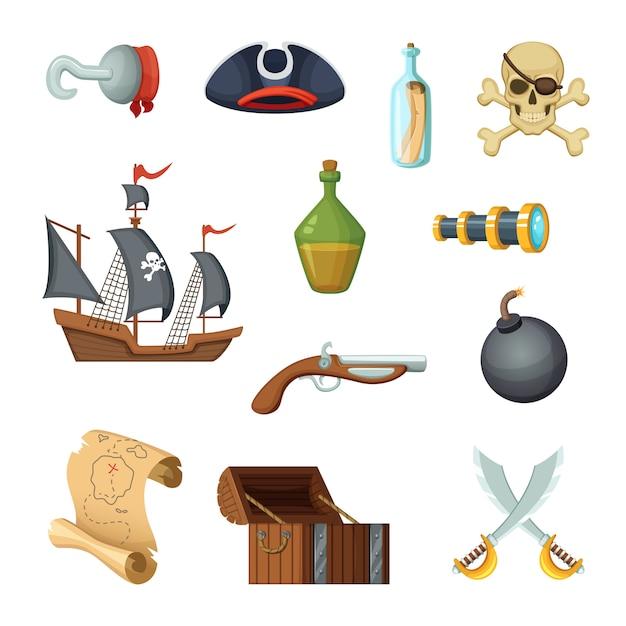 Set di icone differenti del tema dei pirati. cranio, mappa del tesoro, nave da guerra del corsaro e altri oggetti in stile vettoriale Vettore Premium