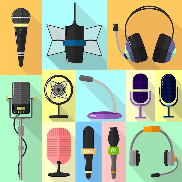 Set di icone diverse con microfoni. Vettore Premium