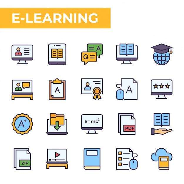 Set di icone e-learning, stile colore pieno Vettore Premium