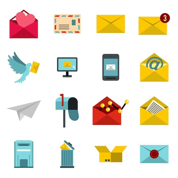 Set di icone e-mail, piatto piatto Vettore Premium
