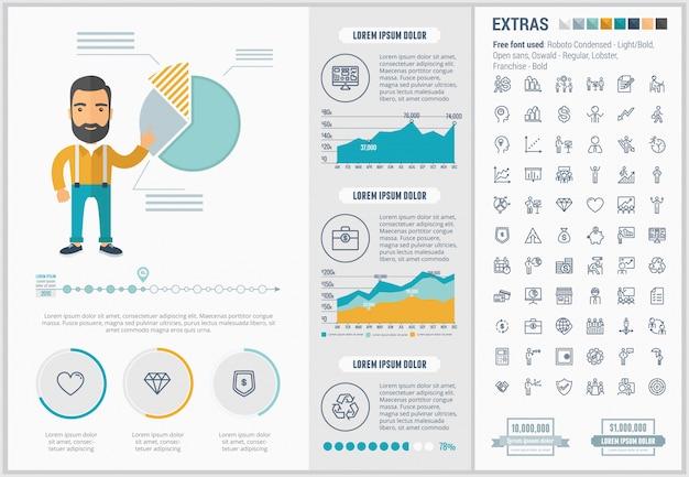 Set di icone e modello infografica design piatto di affari Vettore Premium