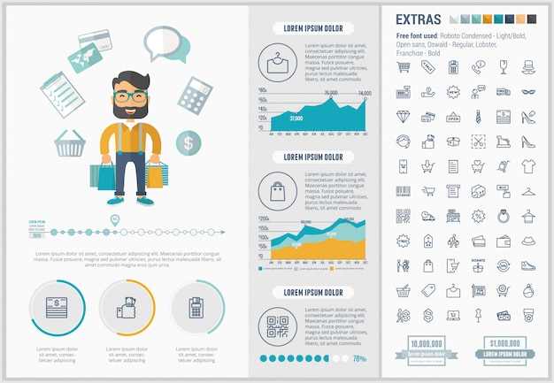 Set di icone e modello infographic shopping design piatto Vettore Premium