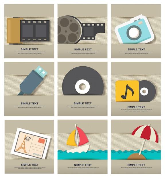 Set di icone film isolato Vettore Premium