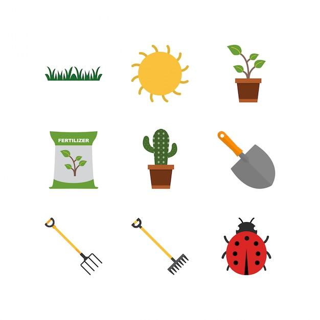 Set di icone giardinaggio isolato su sfondo bianco Vettore Premium