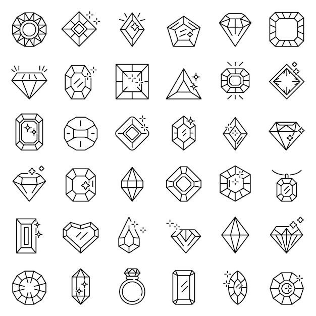 Set di icone gioiello, struttura di stile Vettore Premium
