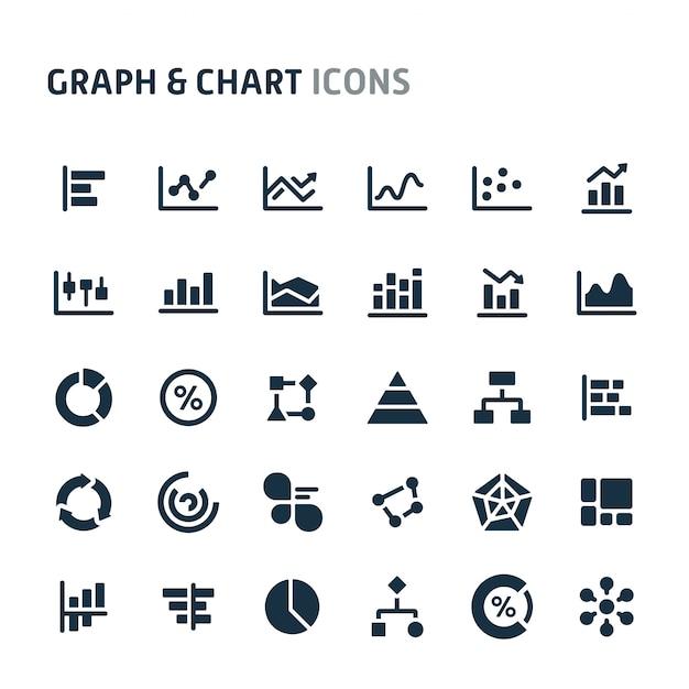 Set di icone grafico e grafico. fillio black icon series. Vettore Premium