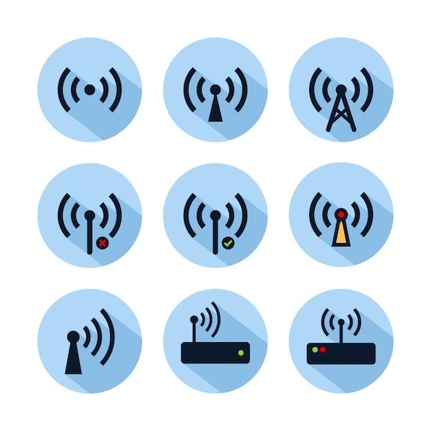 Set di icone hotspot wifi isolato sul cerchio blu. icona di connessione hotspot per web e telefono cellulare Vettore Premium
