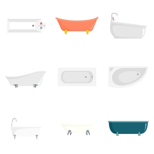 Set di icone interne vasca Vettore Premium