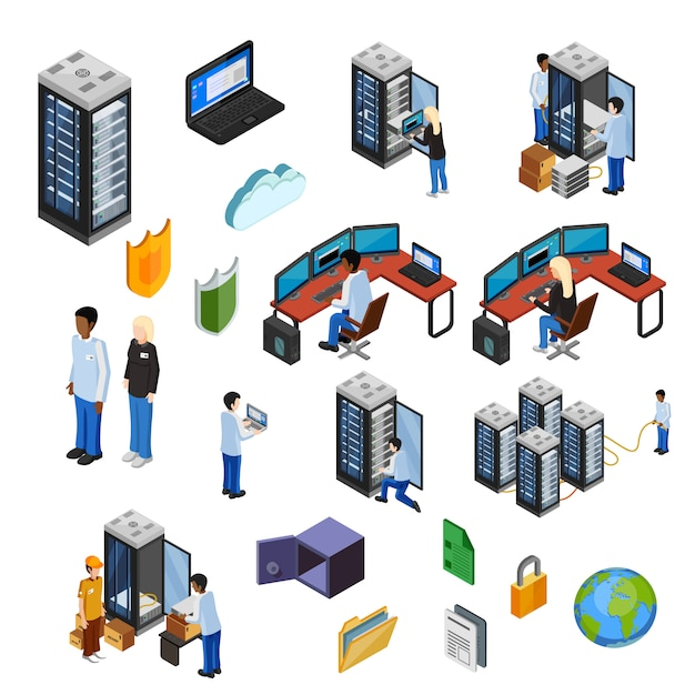 Set di icone isolate isometrica di datacenter Vettore gratuito