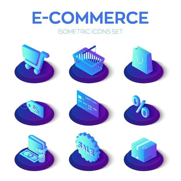 Set di icone isometriche 3d di e-commerce. Vettore Premium
