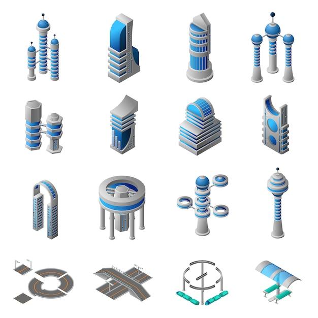 Set di icone isometriche città futura Vettore gratuito