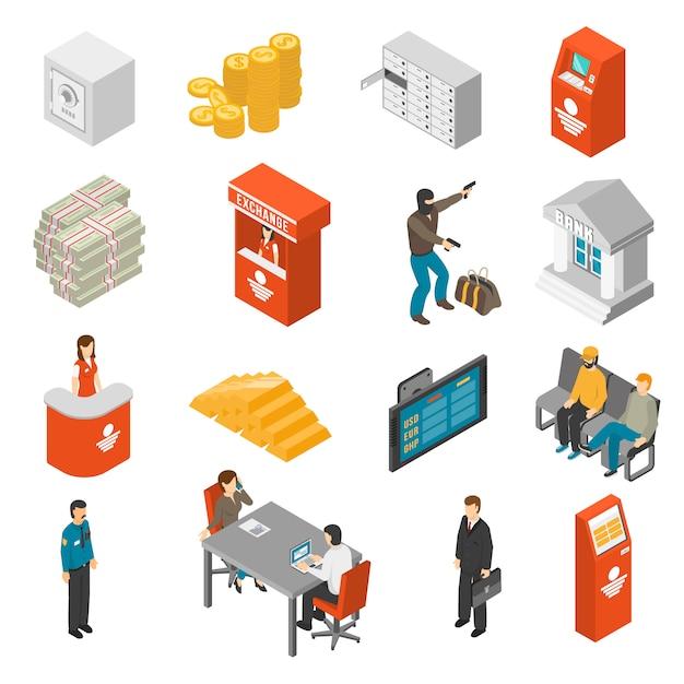 Set di icone isometriche di banca Vettore gratuito