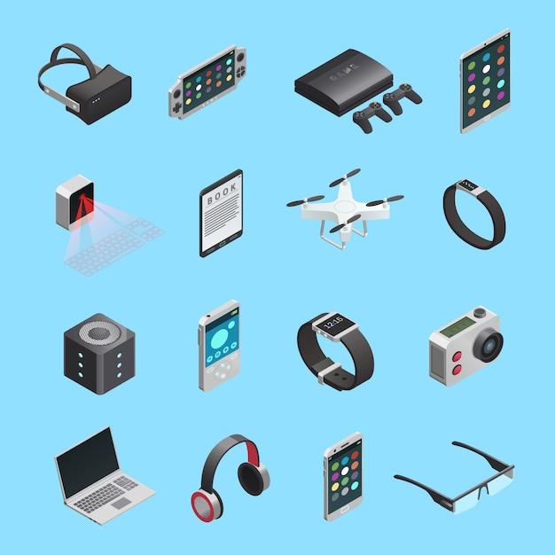 Set di icone isometriche di diversi gadget elettronici per la comunicazione di riproduzione di musica e altro Vettore gratuito