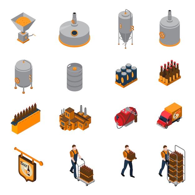Set di icone isometriche di fabbrica di birra Vettore gratuito