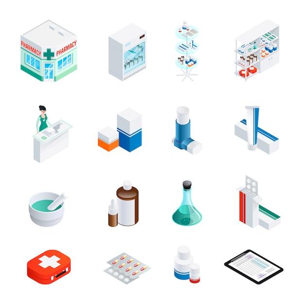 Set di icone isometriche di farmacia Vettore gratuito