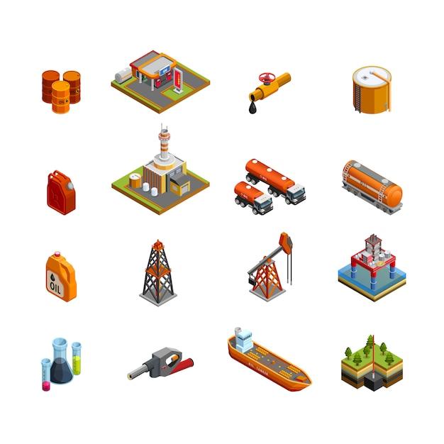 Set di icone isometriche di industria petrolifera Vettore gratuito