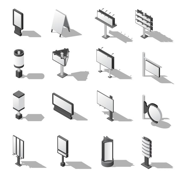 Set di icone isometriche di pubblicità stradale Vettore gratuito