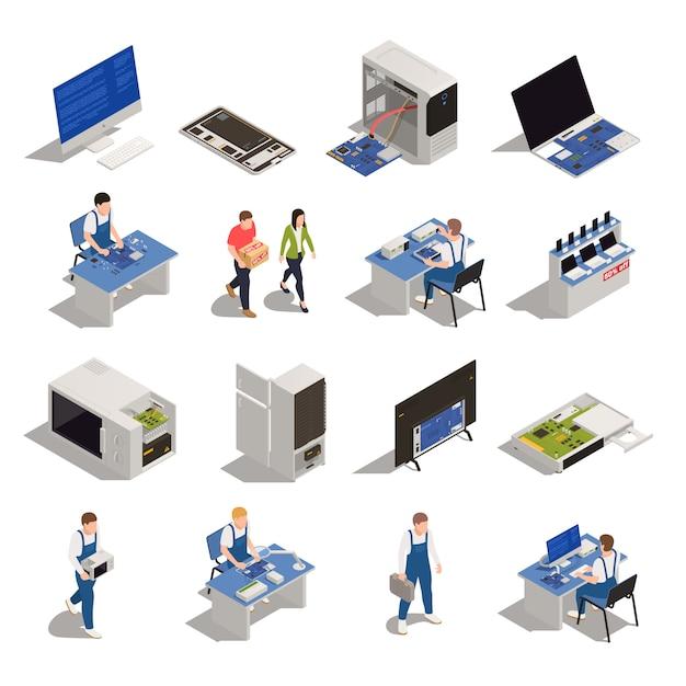 Set di icone isometriche di servizio di garanzia di elettronica ed elettrodomestici necessità di diagnostica o riparazione isolato Vettore gratuito