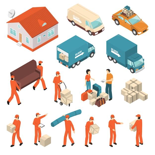 Set di icone isometriche di servizio società in movimento Vettore gratuito