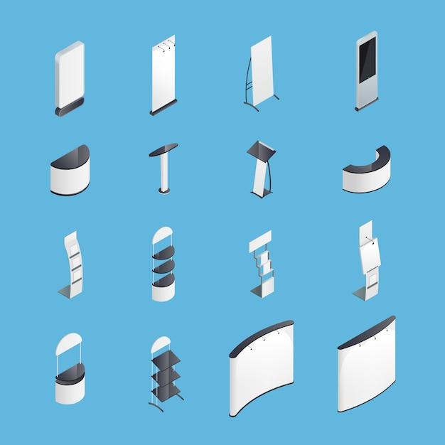 Set di icone isometriche di stand di esposizione Vettore gratuito