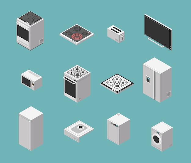 Set di icone isometriche elettrodomestici e cucina domestica Vettore Premium