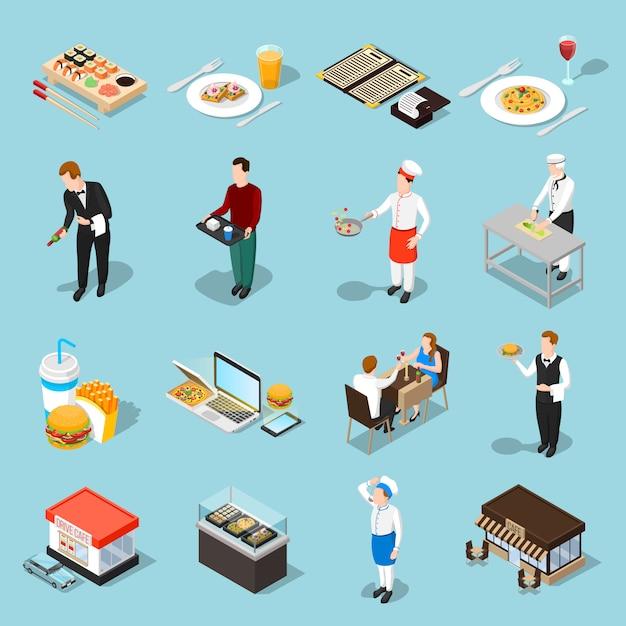 Set di icone isometriche fast food Vettore gratuito