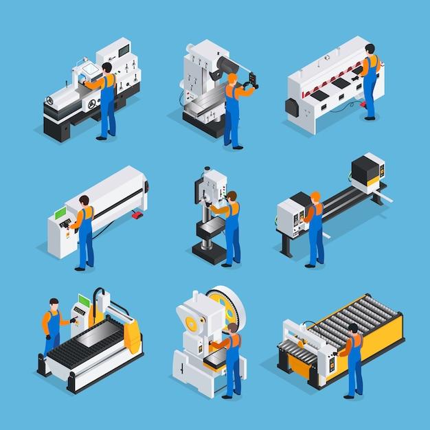 Set di icone isometriche metallurgico Vettore gratuito