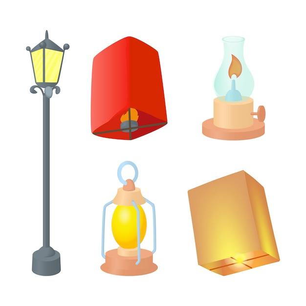 Set di icone lampione Vettore Premium