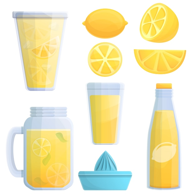 Set di icone limonata, stile cartoon Vettore Premium